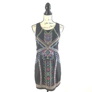 Flying Tomato Small Dress Black Embroidered Aztec